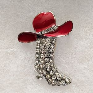 Crystal Boot with Red Hat Brooch